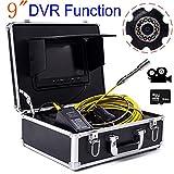 YUYUKUAILAI 9 Pulgadas 23 mm tubería Industrial inspección de alcantarillado cámara IP68 detección de Drenaje Impermeable 1000 TV TVL DVR Video (30M)