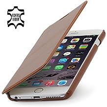 """StilGut Book Type sin cierre, funda exclusíva en piel auténtica para el iPhone 6 Plus & iPhone 6s Plus (5.5""""), en coñac"""
