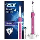 Oral-B Smart4 4000W Elektrische Zahnbürste, mit Timer und zwei 3DWhite Aufsteckbürsten, pink