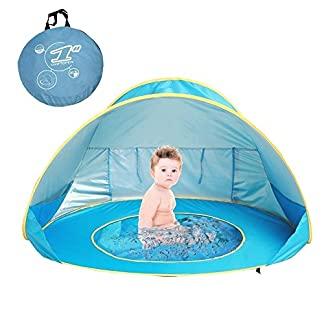 MOONBROOK Striped Beach Tienda al Aire Libre Pop Up Instant Portable Cottage Tienda de Playa sombrilla UV Sombrilla