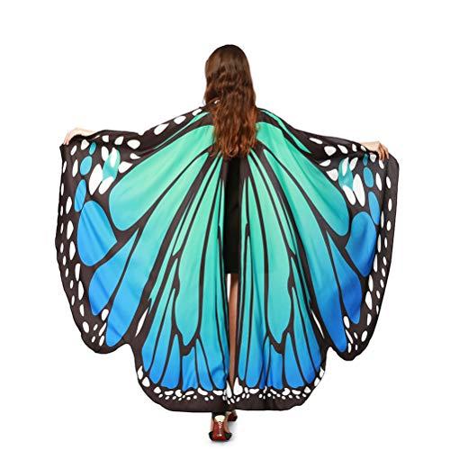 Kostüm Schmetterling Damen - EDOTON Schmetterlingsflügel für Frauen, Nymphe Pixie Kostüm Zubehör Schals Party Cosplay Tanzkostüm (Blau Grün)