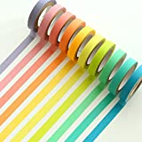 Ailiebhaus Decorative Washi Tape Rolls Masking Adhesive Colorful Sticker Rainbow Tapes DIY Ribbons Labels