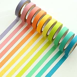 Ailiebhaus Decorative Washi Tape Rolls Masking Adhesive Colorful Sticker Rainbow Tapes DIY Ribbons Labels