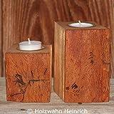 Kerzenständer 'Die Unzertrennlichen', 2-er Set aus fortlaufender Esche