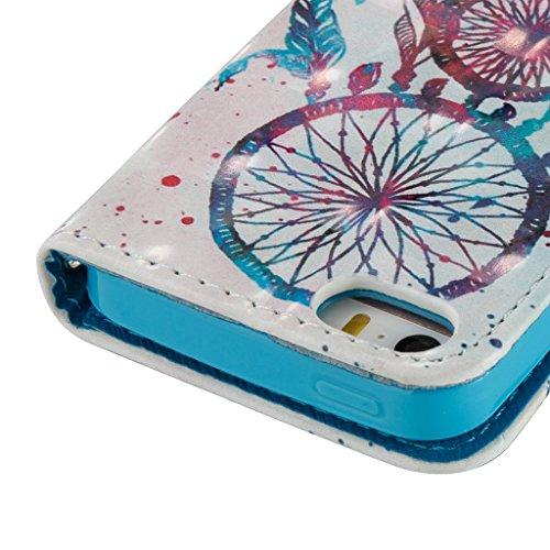 iPhone SE/5S/5 Hülle,Careynoce Schmetterling Blume Traumfänger 3D Erleichterung Retro Painted Prägemuster Design PU Leder Wallet Case Folio Schutztasche HandyHülle mit Standfunktion Kartenfächer für A M05