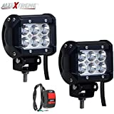 Allextreme Led Motorcycle Fog Lamp Drl Fog Light & On/Off Button Switch for All Motorcycles, ATV, Boats and Cars(18 Watt,Pack of 2)
