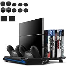 [Versión Mejorada] Younik Base Vertical para PS4 con ventiladores, estación de carga para dos controles, estante de almacenamiento para 14 juegos y un centro de conexión de 3 puestos USB. Esta base cumplirá con todas las necesidades de cualquier videojugador!