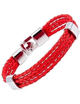 Designer Vintage Herren rotes Leder Manschetten Armband von Urban Jewellery