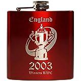 E-Volve Petaca Hip Flask - 6oz - acero inoxidable - Rojo - RWC Rugby World Cup Champions England 2003