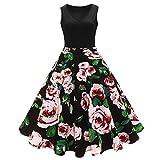 iShine elegant Rockabilly Kleid Damen Knielang V-Ausschnitt 50s Retro Vintage Faltenrock Ärmellos Partykleid Cocktailkleid Festliches Kleid mit Blumen Spleiß-RD-S