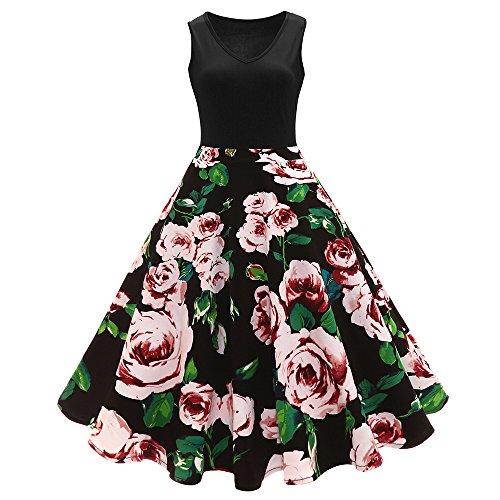 iShine elegant Rockabilly Kleid Damen Knielang V-Ausschnitt 50s Retro Vintage Faltenrock Ärmellos Partykleid Cocktailkleid Festliches Kleid mit Blumen Spleiß (4XL, Rot)