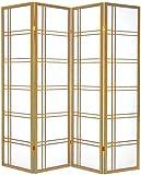 Cinius Paravent - Raumteiler - Holz Trennwand Shoji in natur Reispapier weiß mit 4 Stuecken. Modell Quadri Natural Farbe