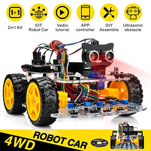 OSOYOO Robot Car Starter Kit for Arduino UNO | STEM Remote Control App Educational Motorized Robotics for Building, Programming & Learning How to Code | IOT Mechanical DIY Coding for Kids Teens Adults