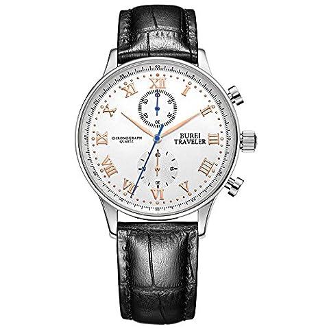 Burei montre classique pour homme Chiffres romains chronographe montres avec bracelet cuir noir et or rose montre à la main