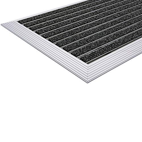 Desan | Eingangsmatte | Ultra Mat | 22mm Alu - Fußmatte | Für außen und innen | Türmatte für die Haustür | Alu-Rampe | 3 Größen | Anthrazit | Textilrips | 48 x 80 cm