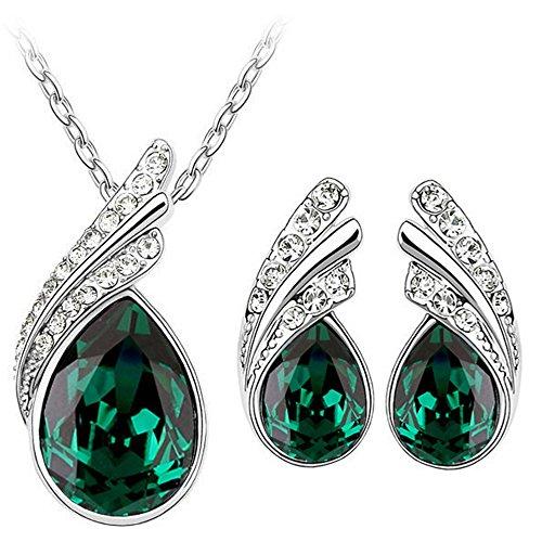 Set di orecchini e collana S760, cristallo verde smeraldo Angel Wings