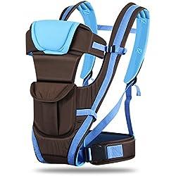 Amzdeal–Mochila portabebés clásica, colocación ventral o dorsal, multifuncional y ajustable, cómoda, algodón transpirable para recién nacidos azul