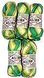 5paquets de 100g de laine en bambou Vert olive Jaune Gradient Couleur pins N ° 4557? 500grammes 100% laine à tricoter en bambou...
