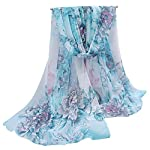 OUKIN Fashion Lady Women Floral Print Sheer Chiffon Soft Long Silk Scarf Scarves Sheer Wrap Shawl