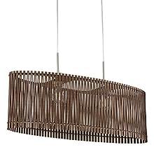 EGLO Sendero Pendant Light 2-Bulb Vintage Natural Boho Steel Pendant Light in Nickel Matt Wood in Brown Dining Table Lamp Living Room Lamp Hanging with E27 Socket L 77.5 cm