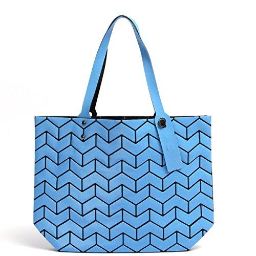 2017 Neu Laserbeutel Faltbeutel Geometrisch Lingge Mode Pu Schultertasche Blue