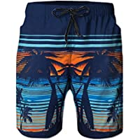 Everpert Pantalones cortos para hombre hawaiano tropical, algodón, diseño de árbol de coco impreso en la playa, L, Large