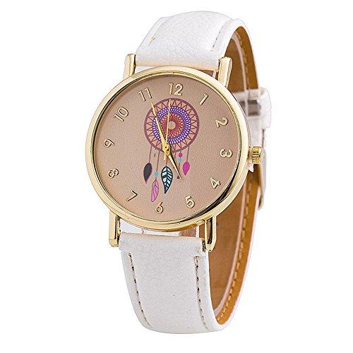 Moda Relojes para Mujer Niña - Correa de Cuero PU Dreamcatcher Atrapasueños Relojes de Pulsera para Señoras, Blanco