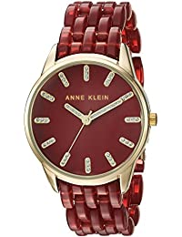 Anne Klein Women's AK/2616BYGB Glitter Accented Gold-Tone And Burgundy Transparent Resin Bracelet Watch