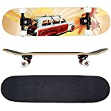 FunTomia Skateboard mit ABEC-11 Kugellager Rollenhärte 100A und 100% 7-lagigem kanadisches Ahornholz (Psycho Totenkopf)