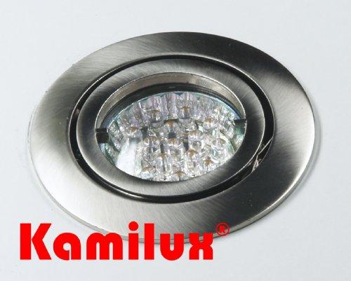 5 x LED Einbauleuchte Einbauspot Einbaustrahler Bajo 230V edelstahl.gebürstet inkl. Fassung GU10 u. LED Leuchtmittel 15er LED-WEISS