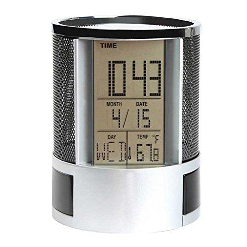 Multifunktional Stifthalter 7,6cm Display LED Schreibtisch Uhr Mesh W/Kalender Timer Alarm - Uhr Stift Halter