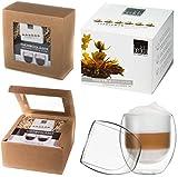 Feelino DUOS410TB Teeblumen-Geschenkset, 2x 410 ml DUOS Jumbo Doppelwandgläser + 6er-Box bedida Teeblumen weißer Tee in neutraler naturfarbiger Geschenk-BOX