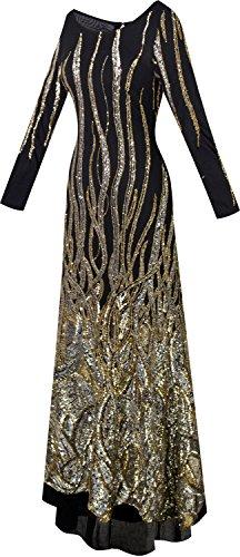 Angel fashions Damen Rundhals Lange Armel Paillette Transparent Spalte maxi Kleid Schwarz