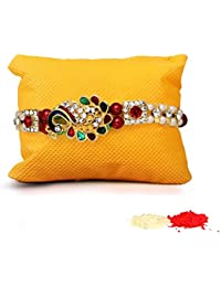 Tied Ribbons Traditional Rakhi for Bhai Rakhi for Brother with Rakhi Wishes Card and Roli Chawal