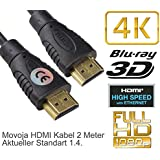 HDMI Kabel 2M Meter 4K 1.4 Highspeed mit Ethernet - LAN Vergoldet 1080p 2160p 8K