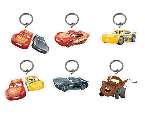 Image of 6 x Official Licensed DISNEY PIXAR CARS Keyrings Lightning McQueen Mater Party Bags
