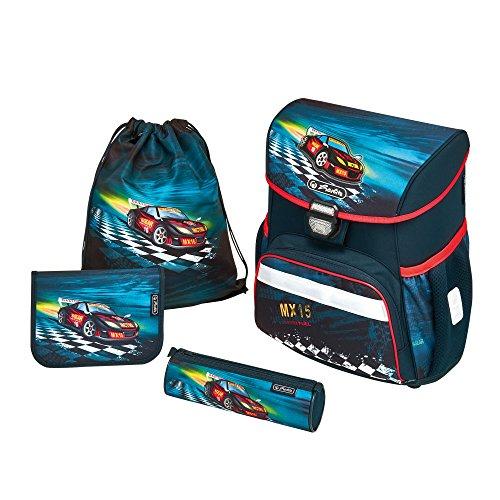 herlitz 50007943 Schulranzen Loop Plus, Klickschloss, ergonomisches Rückenpolster, 16-teiliges Schüleretui, Sportbeutel, Faulenzer rund, Motiv: Super Racer, 1 Stück
