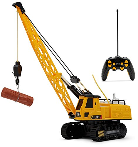 Top Race 12 Channel rc Remote Control Crane tractor , Battery Powered Radio Control Construction Crane With Lights & Sound (TR-114)
