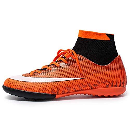 Phciy Fußballschuhe Herren,Stollen Abriebfest Professionelle Spikes Fußballtrainer Jungen Junior Rugby Outdoor Sneakers Schuhe Unisex,Orange,43