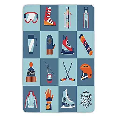 TRAzz Bathroom Bath Rug Kitchen Floor Mat Carpet,Kids,Ice Skating Winter Sports Skiing Boot Cap Glasses Glove Helmet Skates Snowboard Print,Flannel Microfiber Non-Slip Soft Absorbent Teal Snowboard-boots