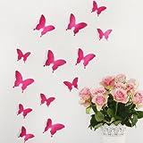 Wandkings 3D Deko Schmetterlinge - Wähle eine Farbe - Pink - 120 Stück - mit Klebepunkten zur Fixierung