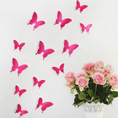 Wandkings «Papillons dans un style 3D» de couleur PINK pour la décoration murale, 12 unités dans un set avec des points de collage pour la fixation, Divers