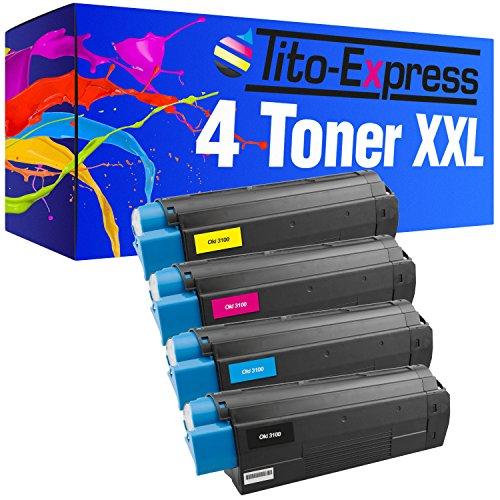 PlatinumSerie® 4 cartuchos de tóner compatible con Oki C 3100 Black Cyan Magenta Yellow C3200 C3200N C3200 Series C5100 C5100N C5100 Series C5150N C5200 C5200N C5200NE C5250 C5300 C5300DN C5300N C5300NS