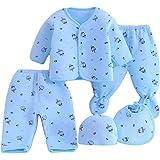 KIDZVILLA Newborn Baby Boy's and Girl's Cotton Fleece/Falalen Suit Cartoon Printing Winter Wear 5 Pieces Clothing Sets