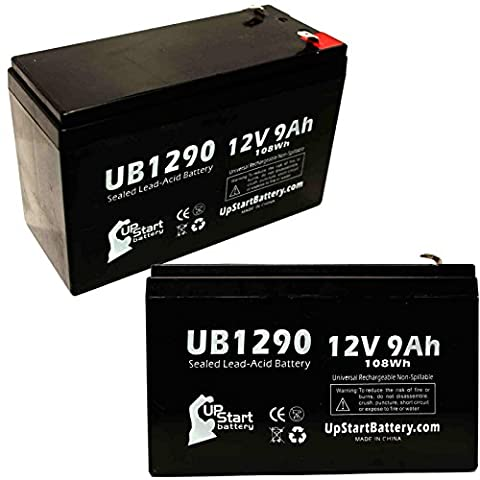 2x Pack - Replacement APC RBC12 Battery - Replacement UB1290 Universal Sealed Lead Acid Battery (12V, 9Ah, 9000mAh, F1 Terminal, AGM, SLA) - Includes 4 F1 to F2 Terminal Adapters