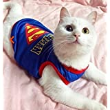 Funny Cat Clothes Nurse Costume Police Suit Clothes For Cool Cat Halloween Costume Pet Suit For Cat(superman)