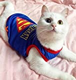 #4: Funny Cat Clothes Nurse Costume Police Suit Clothes For Cool Cat Halloween Costume Pet Suit For Cat(superman)