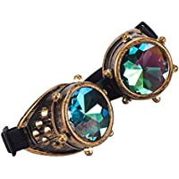 ZAIQUN Steampunk Goggles Cyber Welding Goth Cosplay Vintage Kaleidoscope Goggles Punk Rave Party Fancy Dress Costume Cosplay Multicolor Lens