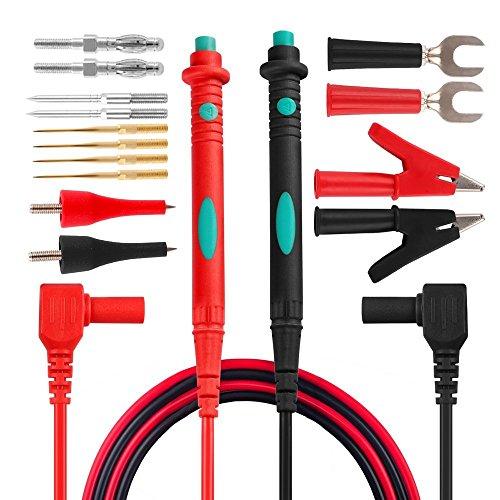 Micsoa Juego de Cables de Prueba Electrónica de 16, Multímetro Digital Cables con pinzas de cocodrilo de las sondas del Multímetro Puntas reemplazables