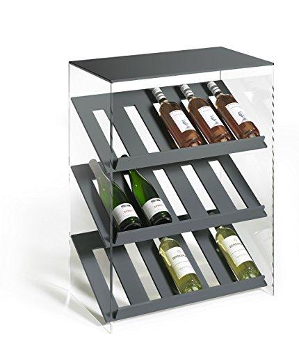 HOWE-Deko Hochwertiges Acryl-Glas Designer Weinregal Flaschenregal Weinschrank, dunkelgrau/klar, B 60 x T 35 x H 80 cm, Acryl-Stärke 8 mm